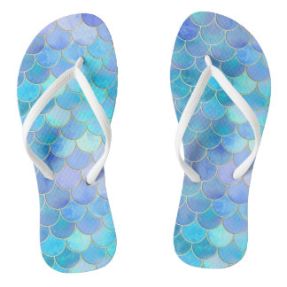 Aqua Pearlescent & Gold Mermaid Scale Pattern Flip Flops