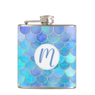 Aqua Pearlescent & Gold Mermaid Scale Pattern Hip Flask
