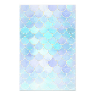 Aqua Pearlescent & Gold Mermaid Scale Pattern Stationery