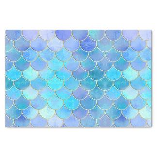 Aqua Pearlescent & Gold Mermaid Scale Pattern Tissue Paper