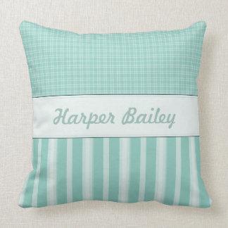 Aqua Personalized Baby Nursery Pillow