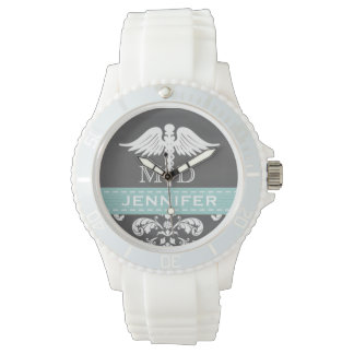 AQUA PERSONALIZED DOCTOR CADUCEUS CHALKBOARD WATCH