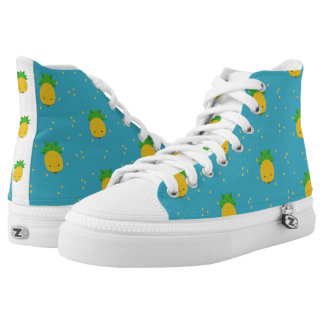 Aqua pineapple kawaii fruit high top shoes