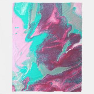 Aqua & Pink Abstract Fleece Blanket