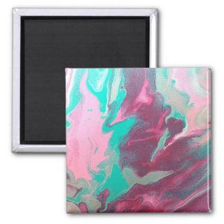 Aqua & Pink Abstract Magnet