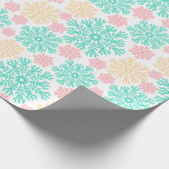 Aqua Pink and Gold Snowflakes Pattern