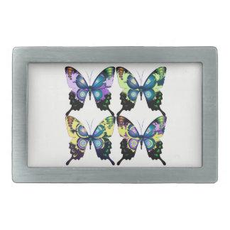 Aqua, Pink, and Yellow -  Elegant Butterflies Belt Buckles