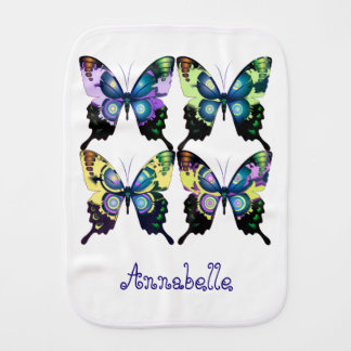 Aqua, Pink, and Yellow -  Elegant Butterflies Burp Cloth