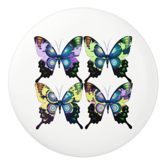 Aqua, Pink, and Yellow -  Elegant Butterflies Ceramic Knob