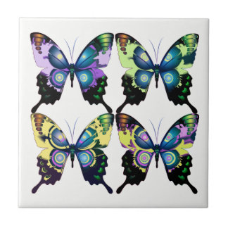 Aqua, Pink, and Yellow -  Elegant Butterflies Ceramic Tiles