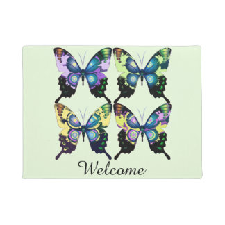 Aqua, Pink, and Yellow -  Elegant Butterflies Doormat
