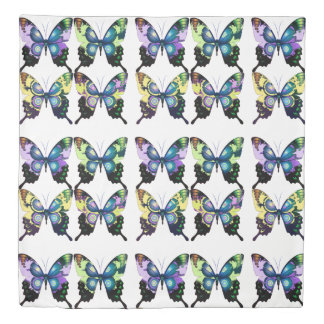 Aqua, Pink, and Yellow -  Elegant Butterflies Duvet Cover