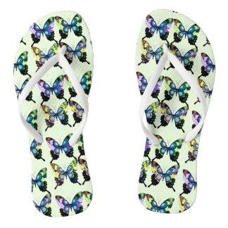 Aqua, Pink, and Yellow -  Elegant Butterflies Flip Flops