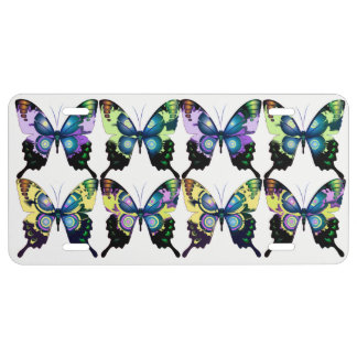 Aqua, Pink, and Yellow -  Elegant Butterflies License Plate