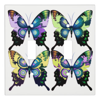 Aqua, Pink, and Yellow -  Elegant Butterflies Light Switch Cover