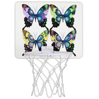 Aqua, Pink, and Yellow -  Elegant Butterflies Mini Basketball Hoop