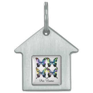 Aqua, Pink, and Yellow -  Elegant Butterflies Pet ID Tag