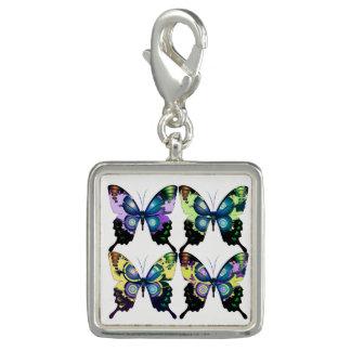 Aqua, Pink, and Yellow -  Elegant Butterflies Photo Charm