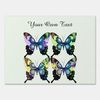 Aqua, Pink, and Yellow -  Elegant Butterflies Sign