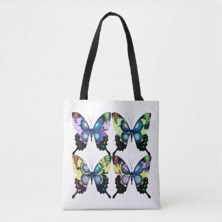 Aqua, Pink, and Yellow -  Elegant Butterflies Tote Bag