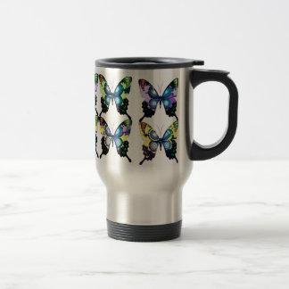 Aqua, Pink, and Yellow -  Elegant Butterflies Travel Mug