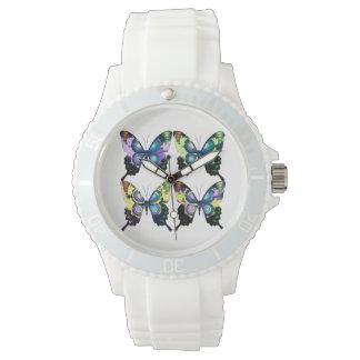 Aqua, Pink, and Yellow -  Elegant Butterflies Watch