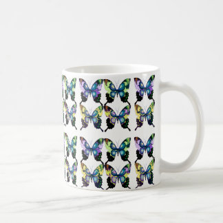 Aqua, Pink, Art Deco -  Elegant Butterflies Coffee Mug