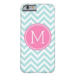 Aqua Pink Chevron Pattern Custom Monogram Barely There iPhone 6 Case