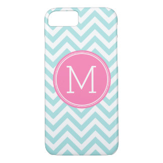 Aqua Pink Chevron Pattern Custom Monogram iPhone 8/7 Case