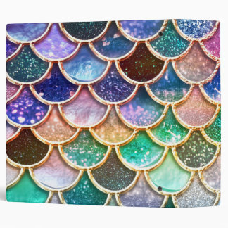 Aqua Pink Mermaid Glitter Scales- Mermaid Scales 1 3 Ring Binders