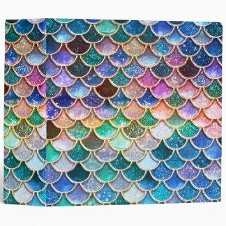 Aqua Pink Mermaid Glitter Scales- Mermaid Scales 3 Ring Binders