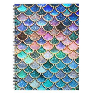 Aqua Pink Mermaid Glitter Scales- Mermaid Scales Notebooks
