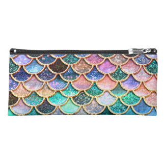 Aqua Pink Mermaid Glitter Scales- Mermaid Scales Pencil Case