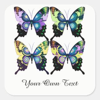 Aqua, Pink, Personalization -  Elegant Butterflies Square Sticker