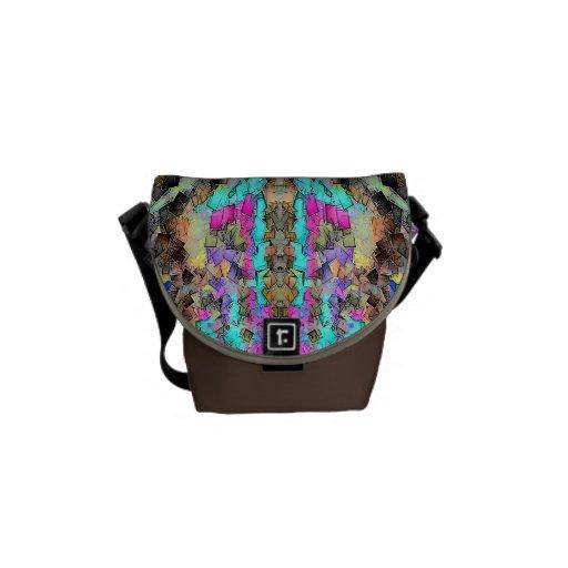 Aqua Pink Pixel Pattern Mini Messenger Bag
