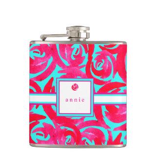 Aqua & Pink Watercolor Roses Flask