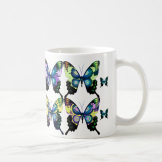 Aqua, Pink, Yellow -  Elegant Butterflies Coffee Mug