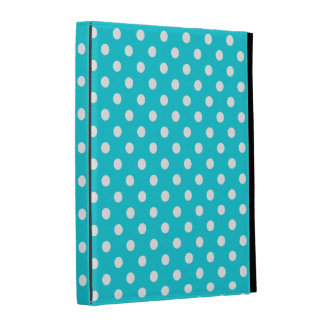 Aqua Polka Dot Pattern iPad Folio Cover