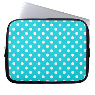 Aqua Polka Dot Pattern Laptop Sleeves