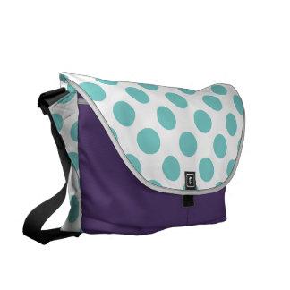 Aqua Polka Dots Commuter Bag