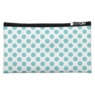Aqua Polka Dots Cosmetic Bag