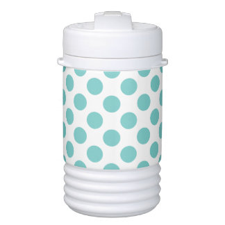 Aqua Polka Dots Drinks Cooler