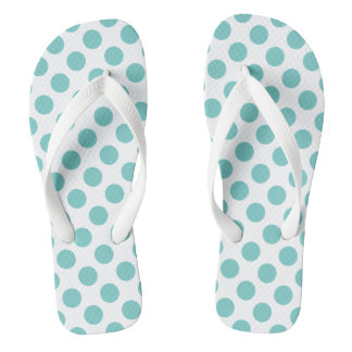 Aqua Polka Dots Flip Flops
