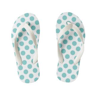 Aqua Polka Dots Kid's Flip Flops