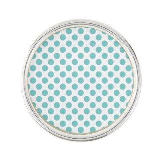 Aqua Polka Dots Lapel Pin