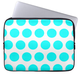 Aqua Polka Dots Laptop Computer Sleeves