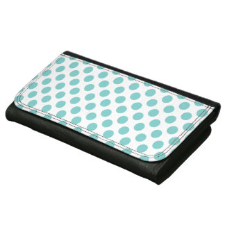 Aqua Polka Dots Leather Wallets