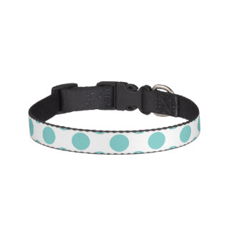 Aqua Polka Dots Pet Collar