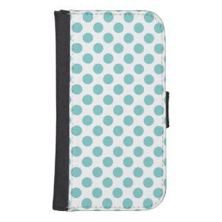 Aqua Polka Dots Samsung S4 Wallet Case