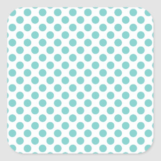 Aqua Polka Dots Square Sticker